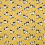 Bombaž, poplin, živalski, 19580-2, rumena