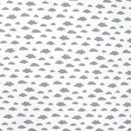 Bombaž, poplin, oblaki, 19578-2, sivo bela