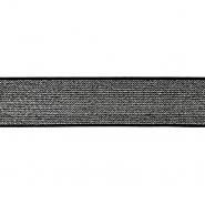 Elastikband,  40mm, 19593-002, schwarz-silbern