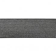 Elastikband,  60mm, 19594-002, schwarz-silbern