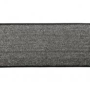 Elastikband,  80mm, 19595-002, schwarz-silbern