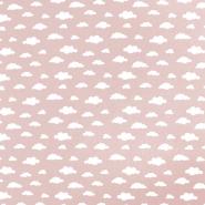 Bombaž, poplin, oblaki, 18421-6, roza