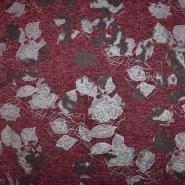 Pletivo, melanž, cvetlični, 19819-118, bordo srebrna
