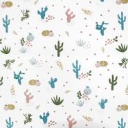 Bombaž, poplin, kaktusi, 19820-011, smetana