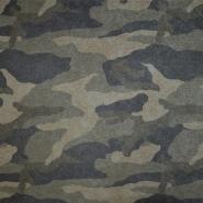 Triko materijal, čupav, kamuflažni, 19930-001, zelena
