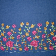 Chambray, gestickt, floral, 19936-001, blau