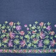 Jeans, srajčni, vezen, cvetlični, 19992-008, temno modra
