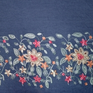 Jeans, srajčni, vezen, cvetlični, 19995-008, temno modra