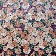 Plüsch, Polyester, floral, 19999-018, bordeaux