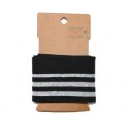 Bündchen, 70mm, Streifen, 20010-069, schwarz-silbern