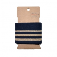 Bündchen, 70mm, Streifen, 20011-008, blau-golden