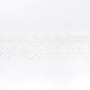 Čipka na materijalu, vezena, 65 mm, cvjetni, 00310-111, bijela
