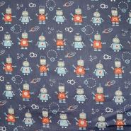 Bombaž, poplin, otroški, 20069-2, modra
