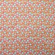 Bombaž, poplin, krogci, 20070-4, oranžno rdeča