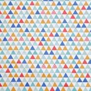 Bombaž, poplin, geometrijski, 20062-3, bela