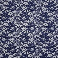 Čipka, elastična, cvjetni, 20083-008, tamnoplava