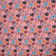 Sweatshirtstoff, floral, 20106-004, rosa