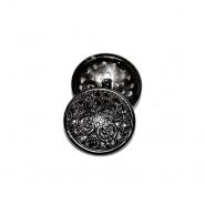 Knopf, metallisch, Bömbchen, 23mm, 20179-105, schwarz