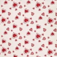Deko žakard, srca, 20215-112, crvena