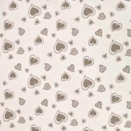 Deko žakard, srca, 20215-123, bež