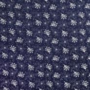 Tkanina, viskoza, cvjetni, 20227-108, tamnoplava