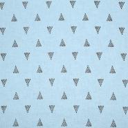 Leinen, Viskose, geometrisch, 20390-008, blau