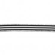 Band, Kristalle, 15 mm, 20422-002, schwarz-weiß