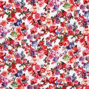 Tkanina, viskoza, cvetlični, 20535-050, bela