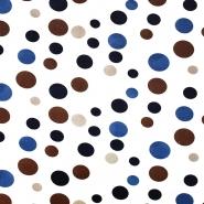 Leinen, Viskose, Punkte, 20552-008, braun-blau