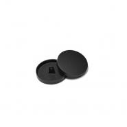 Knopf, metallisch, Bömbchen, 28mm, 20430-130, schwarz matt