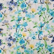 Leinen, Viskose, floral, 20557-006, türkis