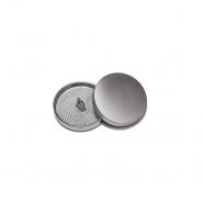 Knopf, metallisch, Bömbchen, 23mm, 20429-110, silbern matt