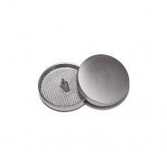 Knopf, metallisch, Bömbchen, 15mm, 20428-110, silbern matt