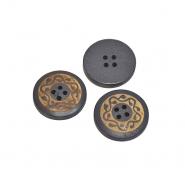 Gumb, drveni, tisak, 18 mm, 20447-027, siva