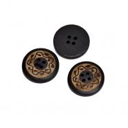 Gumb, drveni, tisak, 25 mm, 20448-002, crna