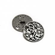Knopf, metallisch, floral, 25mm, 20456-103, silbern