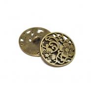 Knopf, metallisch, floral, 25mm, 20456-102, altgold