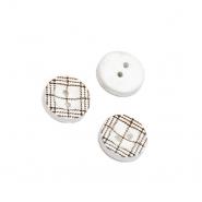 Gumb, drveni, 13 mm, 20460-002, bijela