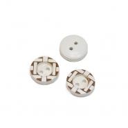 Gumb, drveni, 13 mm, 20460-003, bijela