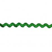 Band, Lamé, Zickzack, 15 mm, 20464-013, grün