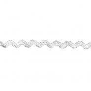 Traka, lame, cik cak, 15 mm, 20464-101, srebrna