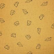 Musselin, doppelt, Tiere, 20675-233, ocker
