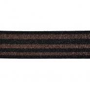 Elastikband, dekorativ, 50 mm, 20746-001, schwarz-bronzen