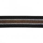Elastikband, dekorativ, 50 mm, 20746-002, schwarz-silbern