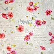 Dekostoff, Druck, imprägniert, floral, 18277-6001, rot