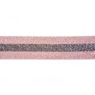 Elastikband, dekorativ, 40 mm, 20490-006, silbern-rosa