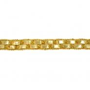 Band, dekorativ, Kunstleder, 20 mm, 20495-100, gold