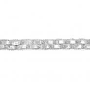 Band, dekorativ, Kunstleder, 20 mm, 20495-101, silbern