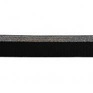 Elastikband, dekorativ, 40 mm, 20497-2101, silbern-schwarz