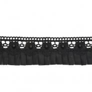 Trak, okrasni, plise, 50mm, 20499-002, črna